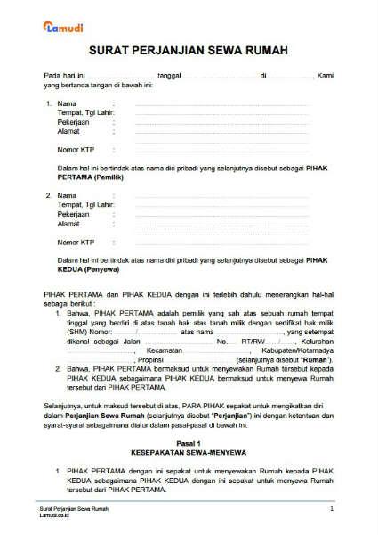 Contoh Surat Perjanjian Sewa Rumah Kontrakan Pdf Doc