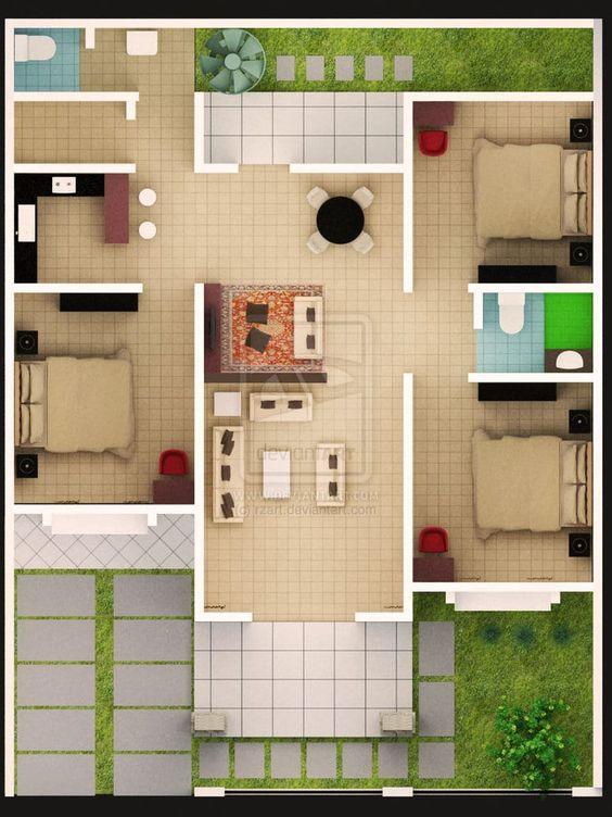 10 Contoh Denah Rumah Type 45 1 2 Lantai Lamudi