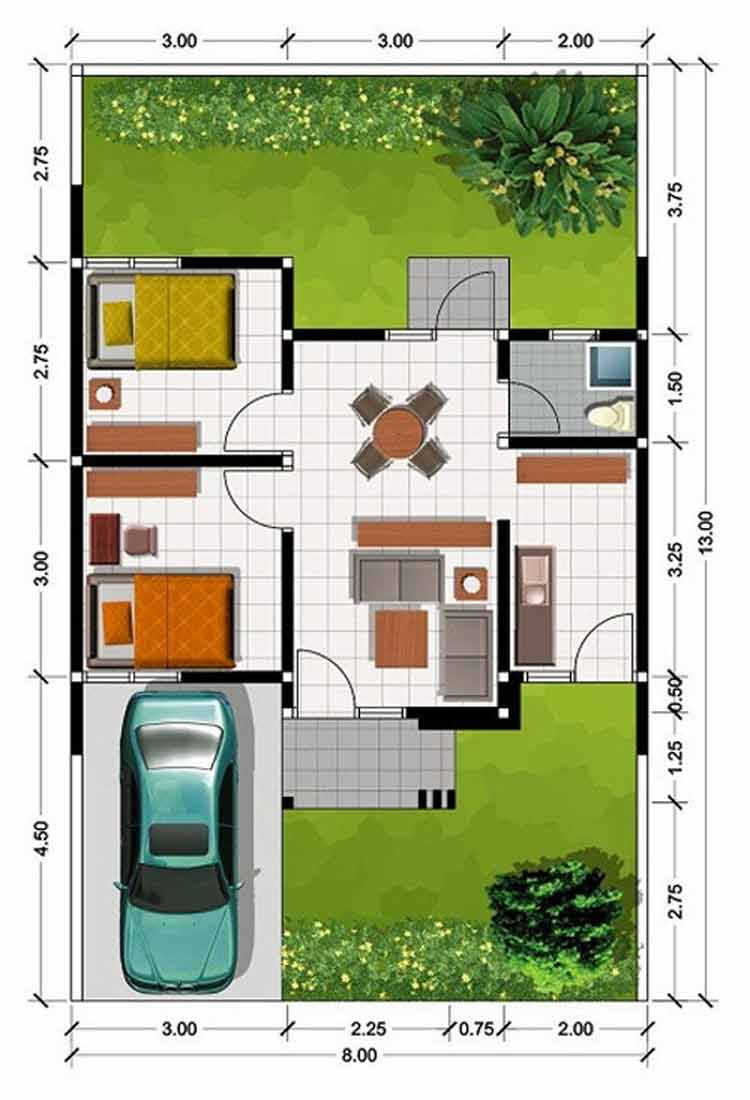 10 Denah Rumah Type 45 Yang Menarik Modern Lamudi