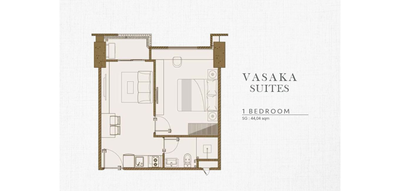 Solterra Place – Vasaka Suite Tipe 1 BR